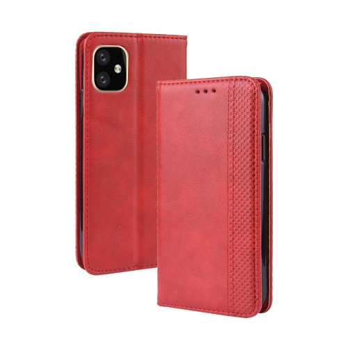 Magnetic Buckle Retro Crazy Horse Texture Horizontal Flip Leather Case for Apple iPhone 11 Pro Max , with Holder & Card Slots & Photo Frame(Red)