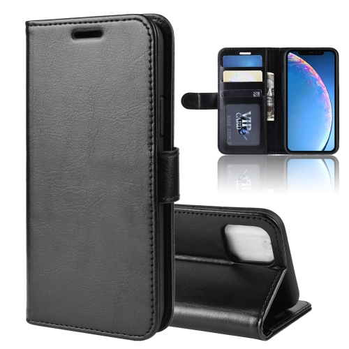 R64 Texture Single Fold Horizontal Flip Leather Case for iPhone 11, with Holder & Card Slots & Wallet(black)