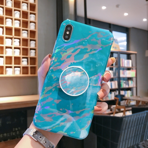 Laser Marble Anti-drop TPU Protection Back Cover for iPhone X / XS, with Folding Holder(Green)