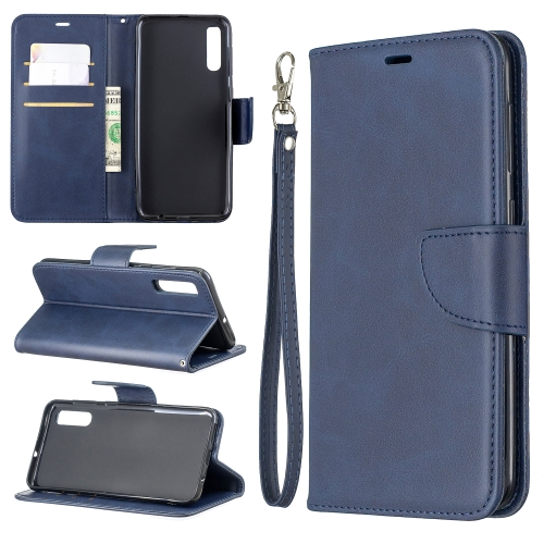 Retro Lambskin Texture Pure Color Horizontal Flip PU Leather Case for Galaxy A50, with Holder & Card Slots & Wallet & Lanyard(Blue)