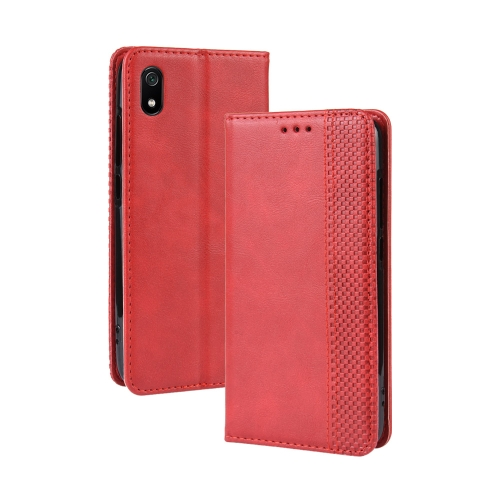 Magnetic Buckle Retro Crazy Horse Texture Horizontal Flip Leather Case for Xiaomi Redmi 7A, with Holder & Card Slots & Photo Frame(Red)