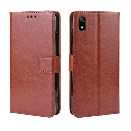 Retro Crazy Horse Texture Horizontal Flip Leather Case for Xiaomi Redmi 7A , with Holder & Card Slots & Photo Frame(Brown)