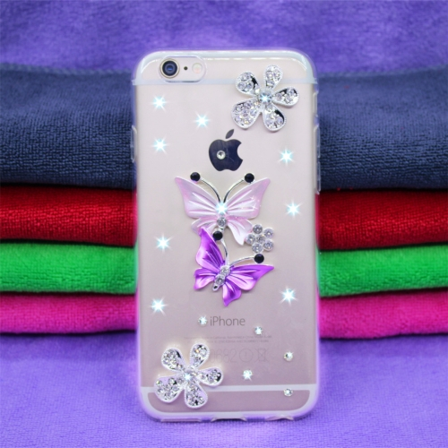 Fevelove Diamond Encrusted Christmas Santa Claus Pattern TPU Protective Case for iPhone 7 / 8(Butterfly lovers)