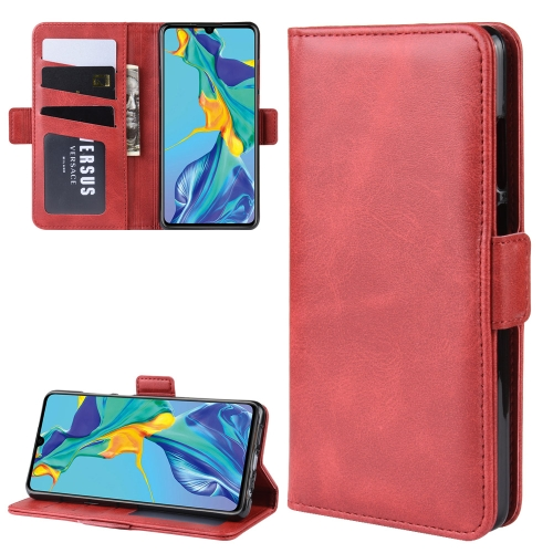 Dual-side Magnetic Buckle Horizontal Flip Leather Case for Huawei P30, with Holder & Card Slots & Wallet & Photo Frame(Red)
