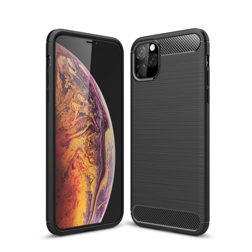 Brushed Texture Carbon Fiber TPU Case for iPhone 11 Pro(Black)