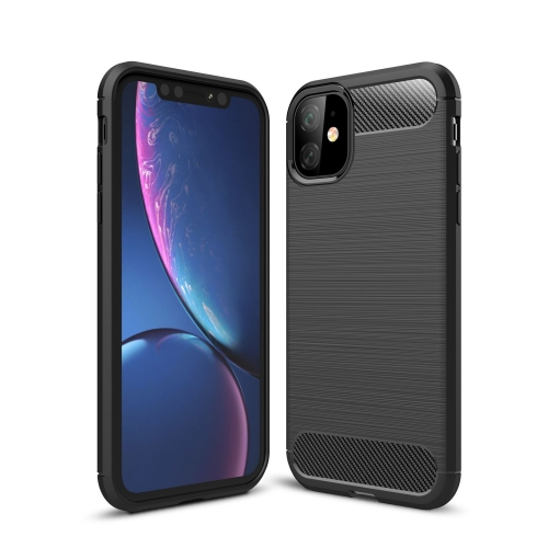 Brushed Texture Carbon Fiber TPU Case for iPhone 11(Black)