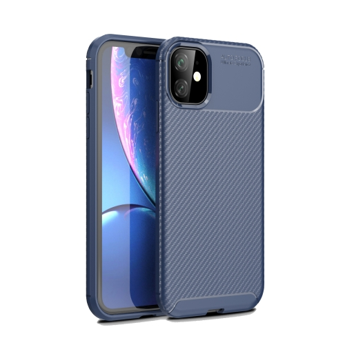 Carbon Fiber Texture Shockproof TPU Case for iPhone 11(Blue)