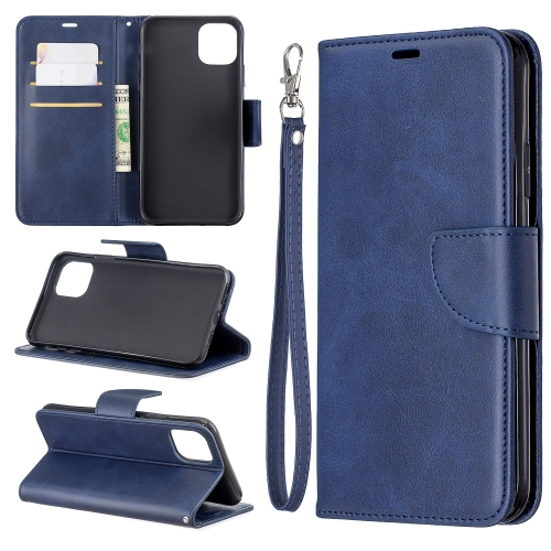 Retro Lambskin Texture Pure Color Horizontal Flip PU Leather Case for iPhone 11 Pro Max, with Holder & Card Slots & Wallet & Lanyard(Blue)