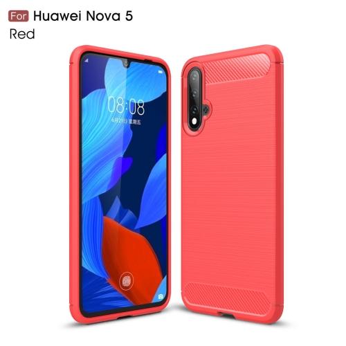Brushed Texture Carbon Fiber TPU Case for Huawei Nova 5(Red)