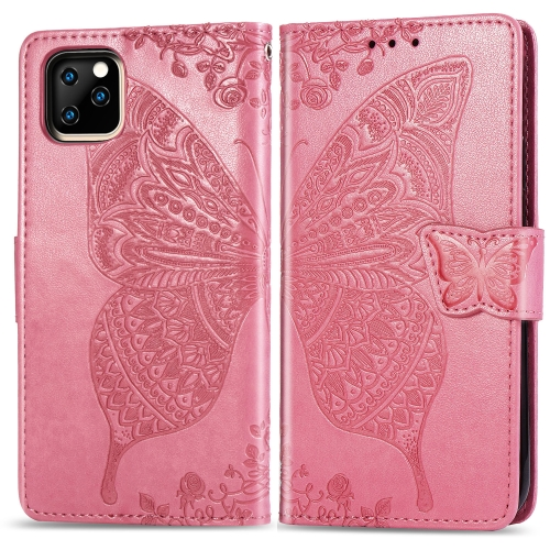 Butterfly Love Flowers Embossing Horizontal Flip Leather Case for iPhone XIR (2019), with Holder & Card Slots & Wallet & Lanyard(Pink)