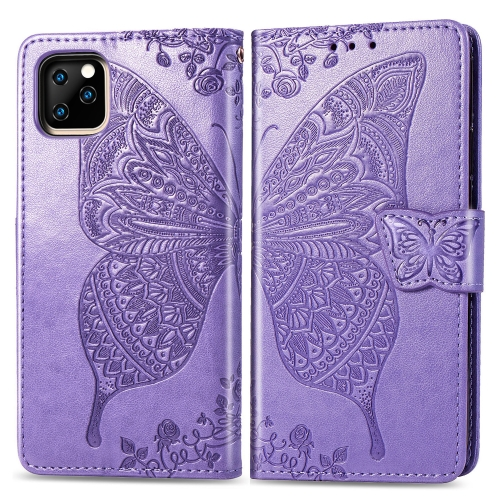 Butterfly Love Flowers Embossing Horizontal Flip Leather Case For iPhone 11 Pro Max with Holder & Card Slots & Wallet & Lanyard(Light purple)