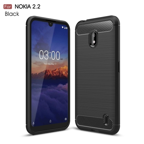 Brushed Texture Carbon Fiber TPU Case for Nokia 2.2(Black)
