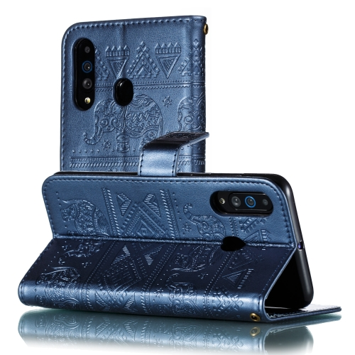 Elephant Embossing Pattern Horizontal Flip Leather Case for Galaxy A60 & A606F & A6060 & M40, with Holder & Card Slots & Wallet & Lanyard(Dark Blue)