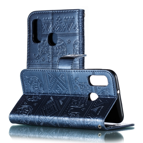 Elephant Embossing Pattern Horizontal Flip Leather Case for Galaxy A20e & A10e, with Holder & Card Slots & Wallet & Lanyard(Dark Blue)