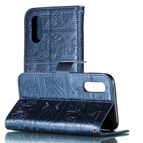 Elephant Embossing Pattern Horizontal Flip Leather Case for Galaxy A2 Core & A260 & A20 Core, with Holder & Card Slots & Wallet & Lanyard(Dark Blue)