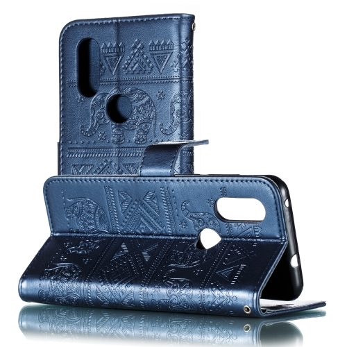 Elephant Embossing Pattern Horizontal Flip Leather Case for Motorola Moto P40 & One Vision & P40 Power (EU Version), with Holder & Card Slots & Wallet & Lanyard(Dark Blue)