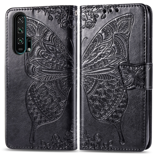Butterfly Love Flowers Embossing Horizontal Flip Leather Case For  Honor 20 Pro  with Holder & Card Slots & Wallet & Lanyard(Black)