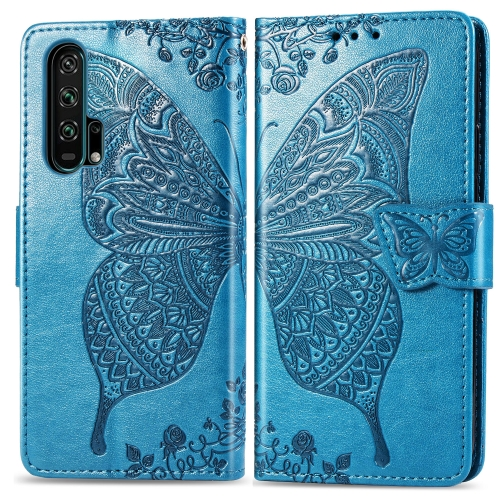 Butterfly Love Flowers Embossing Horizontal Flip Leather Case For  Honor 20 Pro  with Holder & Card Slots & Wallet & Lanyard(Blue)