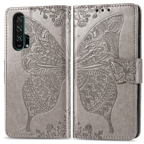 Butterfly Love Flowers Embossing Horizontal Flip Leather Case For  Honor 20 Pro  with Holder & Card Slots & Wallet & Lanyard(Gray)