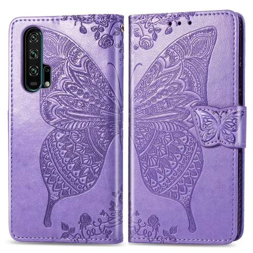 Butterfly Love Flowers Embossing Horizontal Flip Leather Case For  Honor 20 Pro  with Holder & Card Slots & Wallet & Lanyard(Lighe purple)