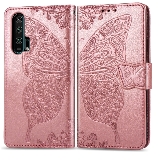 Butterfly Love Flowers Embossing Horizontal Flip Leather Case For  Honor 20 Pro  with Holder & Card Slots & Wallet & Lanyard(Rose gold)