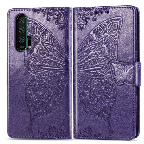 Butterfly Love Flowers Embossing Horizontal Flip Leather Case For  Honor 20 Pro  with Holder & Card Slots & Wallet & Lanyard(Dark purple)