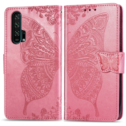 Butterfly Love Flowers Embossing Horizontal Flip Leather Case For  Honor 20 Pro  with Holder & Card Slots & Wallet & Lanyard(Pink)