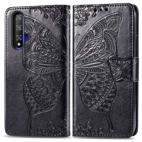 Butterfly Love Flowers Embossing Horizontal Flip Leather Case For  Honor 20 / Honor 20S / nova 5T  with Holder & Card Slots & Wallet & Lanyard(Black)