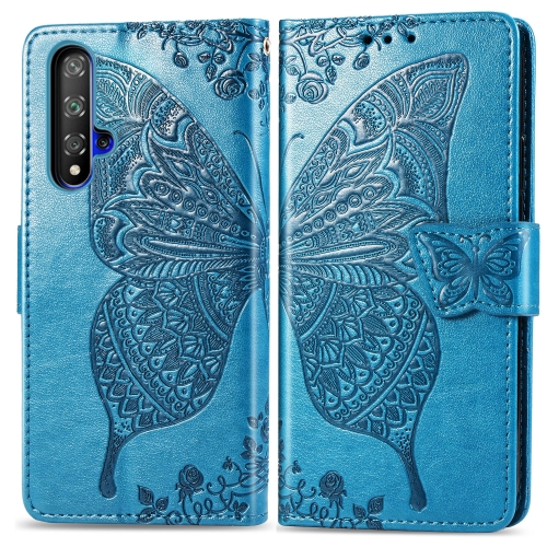 Butterfly Love Flowers Embossing Horizontal Flip Leather Case For  Honor 20 / Honor 20S / nova 5T  with Holder & Card Slots & Wallet & Lanyard(Blue)