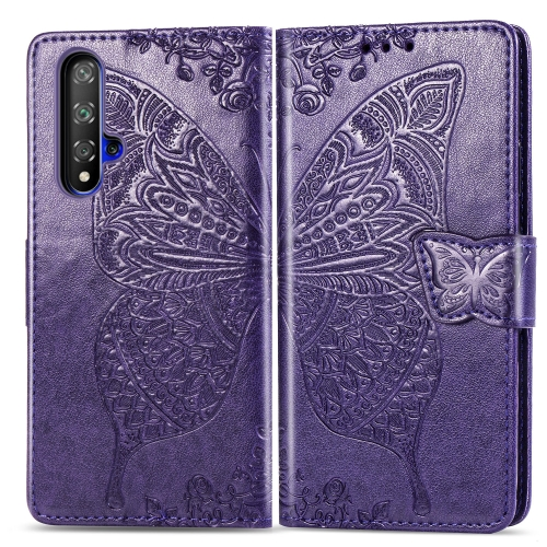 Butterfly Love Flowers Embossing Horizontal Flip Leather Case For  Honor 20 / Honor 20S / nova 5T  with Holder & Card Slots & Wallet & Lanyard(Dark purple)