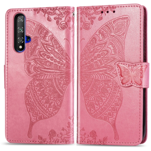 Butterfly Love Flowers Embossing Horizontal Flip Leather Case For  Honor 20 / Honor 20S / nova 5T  with Holder & Card Slots & Wallet & Lanyard(Pink)