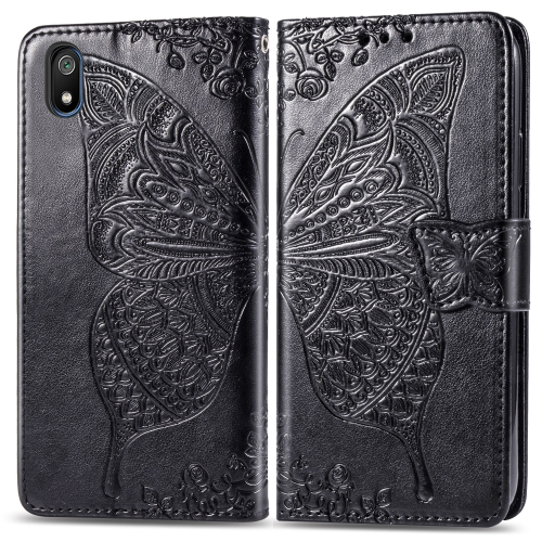 Butterfly Love Flowers Embossing Horizontal Flip Leather Case For  Xiaomi Redmi 7A  with Holder & Card Slots & Wallet & Lanyard(Black)