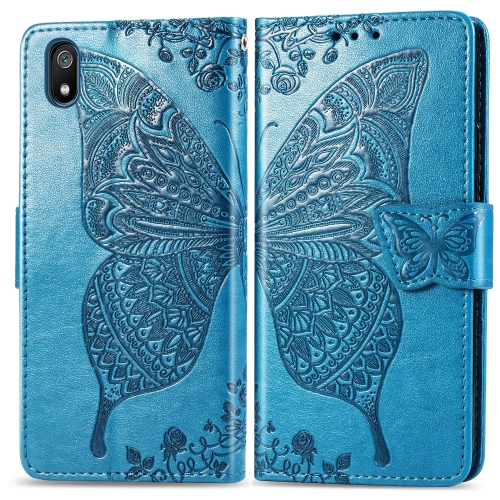 Butterfly Love Flowers Embossing Horizontal Flip Leather Case For  Xiaomi Redmi 7A  with Holder & Card Slots & Wallet & Lanyard(Blue)