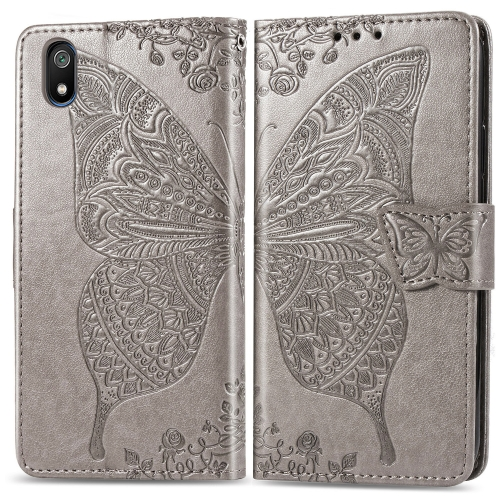 Butterfly Love Flowers Embossing Horizontal Flip Leather Case For  Xiaomi Redmi 7A  with Holder & Card Slots & Wallet & Lanyard(Gray)