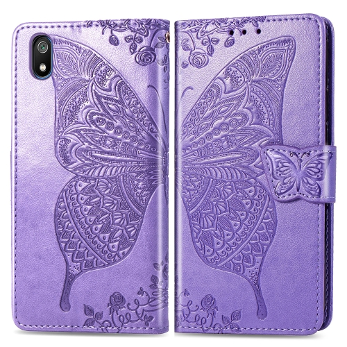 Butterfly Love Flowers Embossing Horizontal Flip Leather Case For  Xiaomi Redmi 7A  with Holder & Card Slots & Wallet & Lanyard(Lighe purple)
