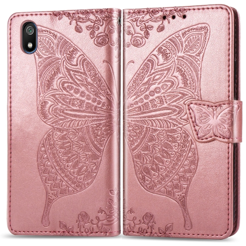 Butterfly Love Flowers Embossing Horizontal Flip Leather Case For  Xiaomi Redmi 7A  with Holder & Card Slots & Wallet & Lanyard(Rose gold)