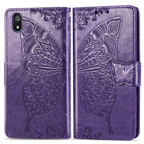 Butterfly Love Flowers Embossing Horizontal Flip Leather Case For  Xiaomi Redmi 7A  with Holder & Card Slots & Wallet & Lanyard(Dark purple)