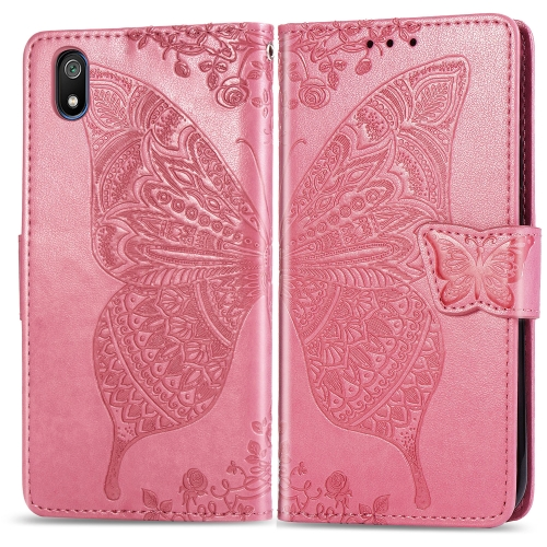 Butterfly Love Flowers Embossing Horizontal Flip Leather Case For  Xiaomi Redmi 7A  with Holder & Card Slots & Wallet & Lanyard(Pink)