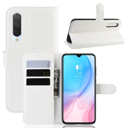 Litchi Texture Horizontal Flip Leather Case for Xiaomi Mi CC9, with Wallet & Holder & Card Slots(White) фото
