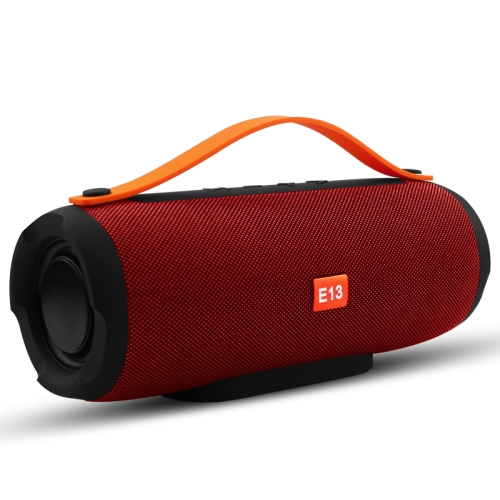 E13 Mini Portable Wireless Bluetooth Speaker Stereo Speakerphone Radio Music Subwoofer Column Speakers with TF FM, RED