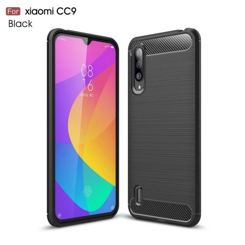 Brushed Texture Carbon Fiber TPU Case for Xiaomi Mi CC9(Black)