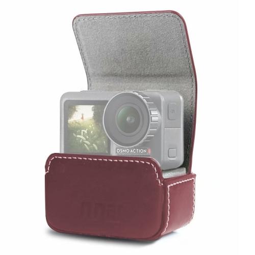 Waterproof Mini Leather Case Storage Carrying Box for DJI OSMO Action / GoPro / SJCAM / Xiaomi Mi Jia(Coffee)