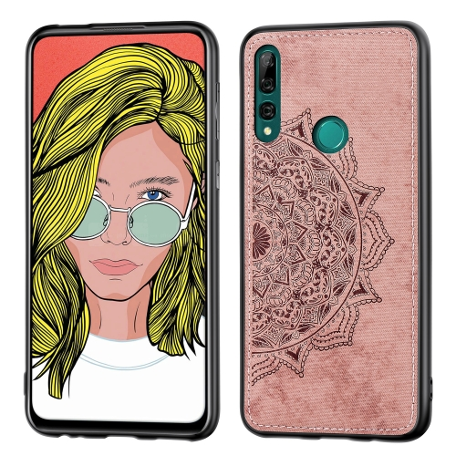 Embossed Mandala pattern PC + TPU + Fabric Phone Case for Huawei Y9 Prime (2019)  /  P Smart Z,with Lanyard & Magnetic(Rose Gold)