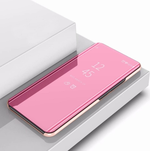 Plating Mirror Left and Right Flip Cover with Bracket Holster for iPhone 11 Pro Max(Rose gold)