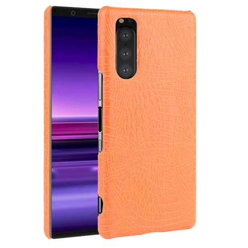 Shockproof Crocodile Texture PC + PU Case For Sony Xperia 5(Orange)