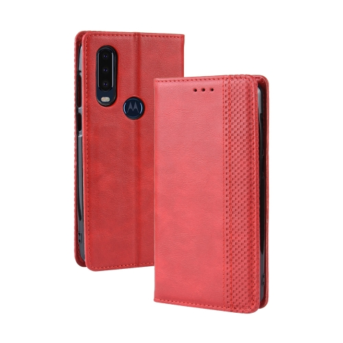 Magnetic Buckle Retro Crazy Horse Texture Horizontal Flip Leather Case for Motorola One Action, with Holder & Card Slots & Photo Frame(Red)