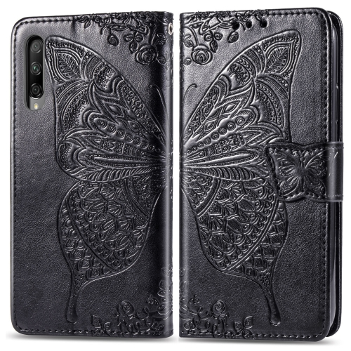 Butterfly Love Flowers Embossing Horizontal Flip Leather Case for  Honor 9X Pro  with Holder & Card Slots & Wallet & Lanyard(Black)