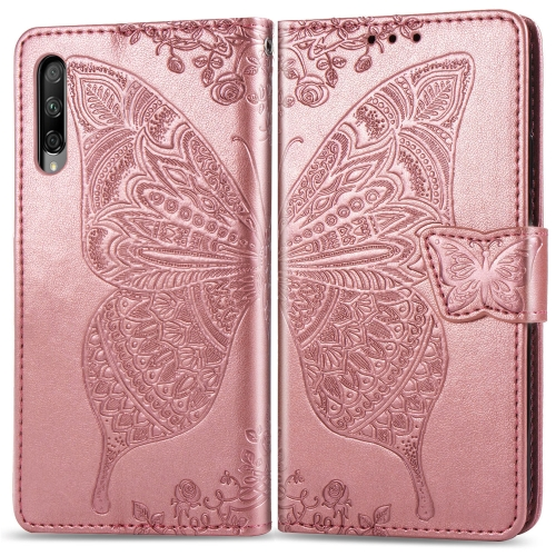 Butterfly Love Flowers Embossing Horizontal Flip Leather Case for  Honor 9X Pro  with Holder & Card Slots & Wallet & Lanyard(Rose Gold)