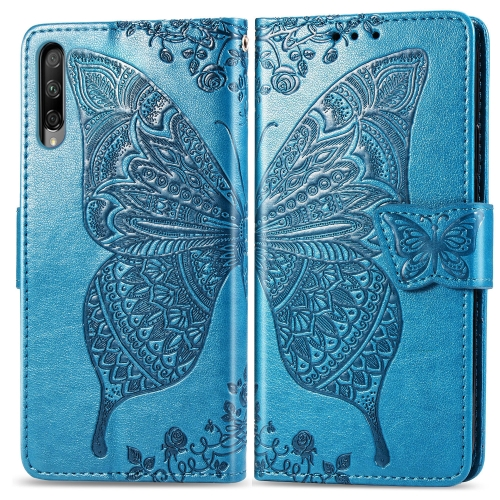 Butterfly Love Flowers Embossing Horizontal Flip Leather Case for  Honor 9X Pro  with Holder & Card Slots & Wallet & Lanyard(Blue)