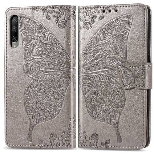 Butterfly Love Flowers Embossing Horizontal Flip Leather Case for  Honor 9X Pro  with Holder & Card Slots & Wallet & Lanyard(Gray)